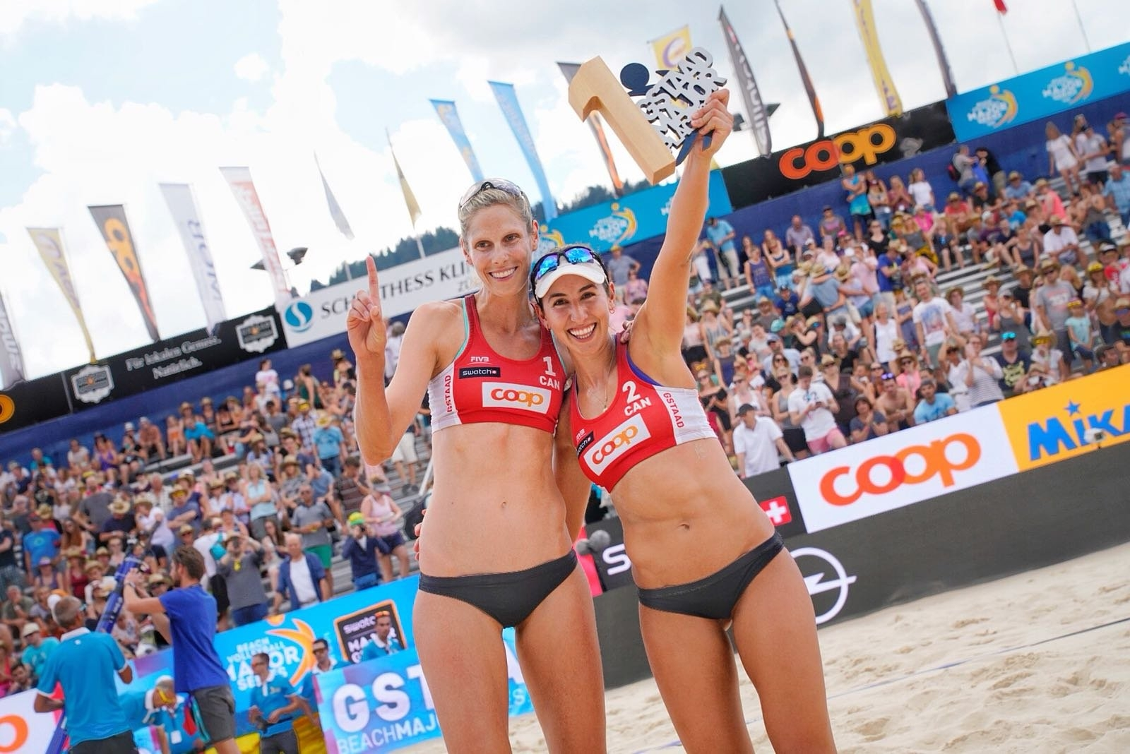 Melissa and Sarah celebrate their first gold medals in Gstaad